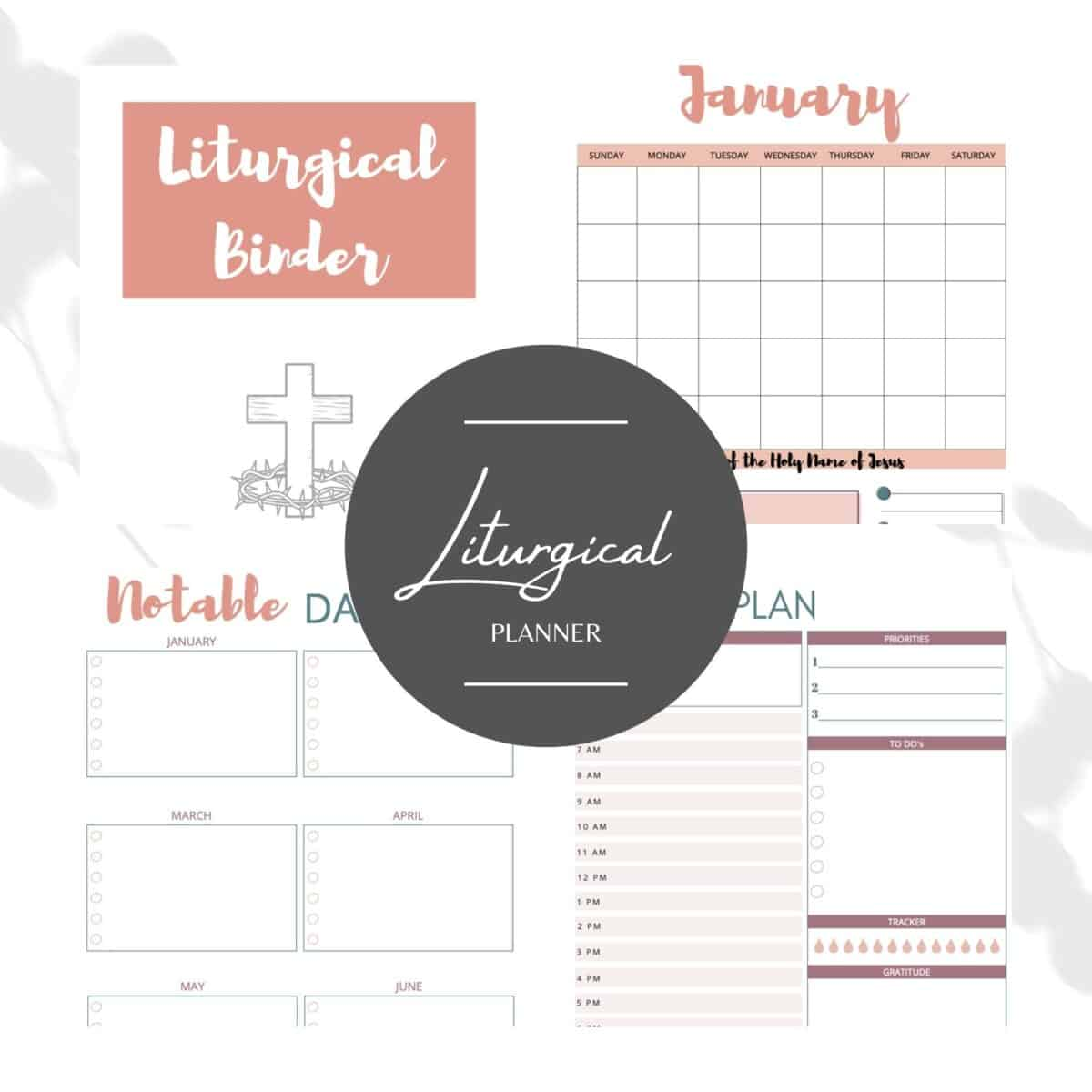 collage of liturgical binder planner sheets