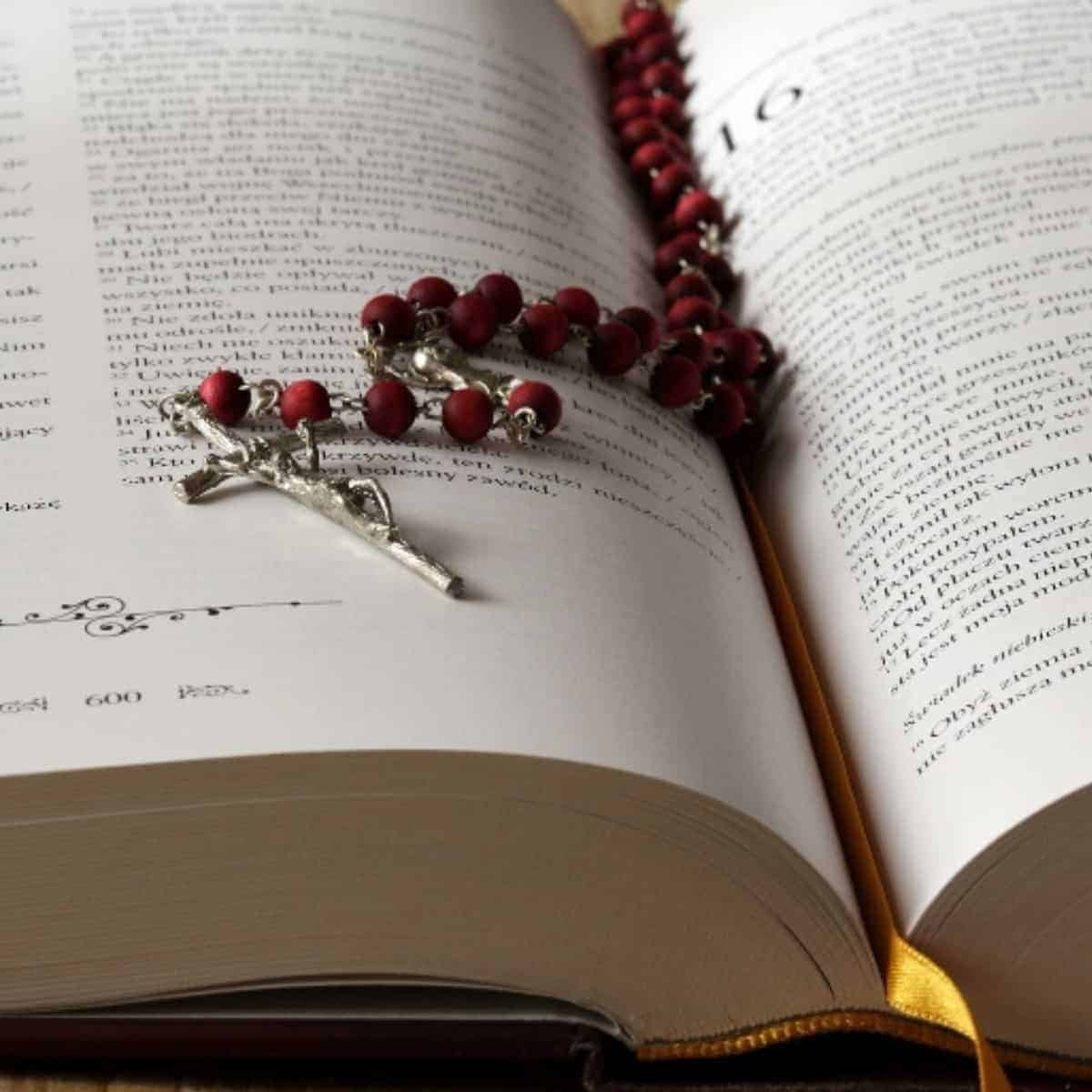bible with red rosary resting over top