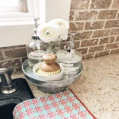 dish soap and scrub brush