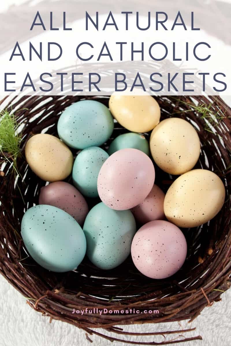 natural easter basket filled with colorful eggs