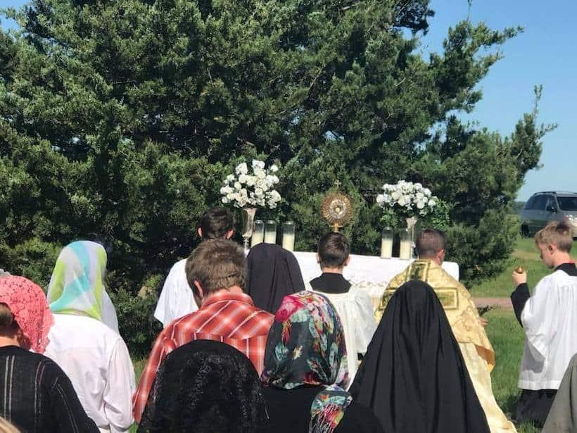 Corpus Christi devotion outdoors