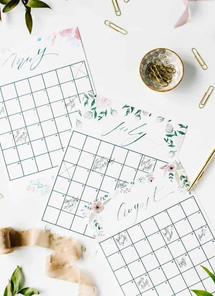 calendar pages with a cup of coffee