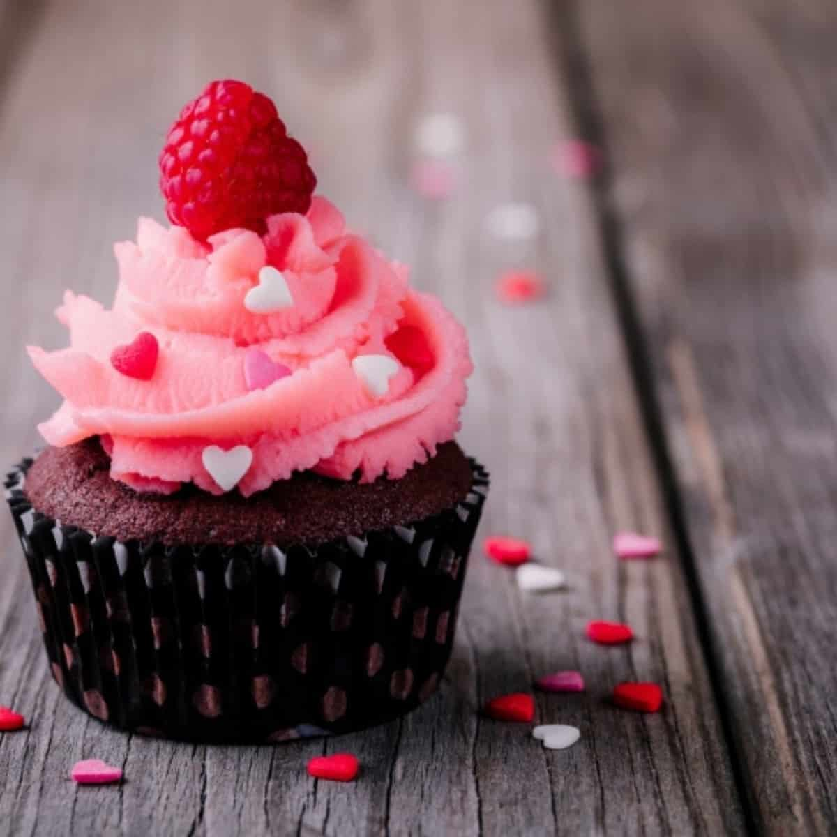 valentine's day cupcake on tabletop