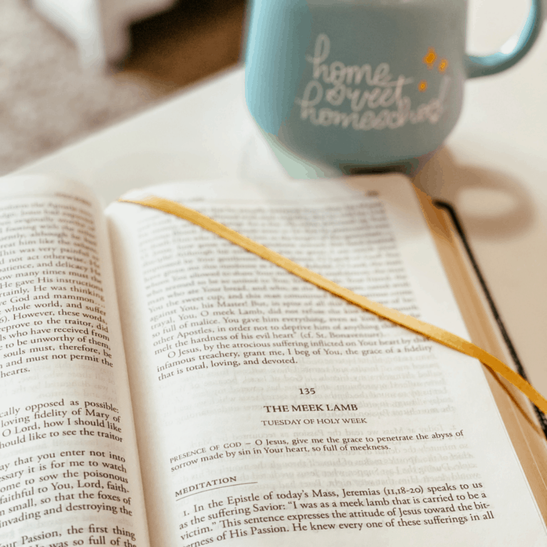 morning routine with devotional book and cup of coffee