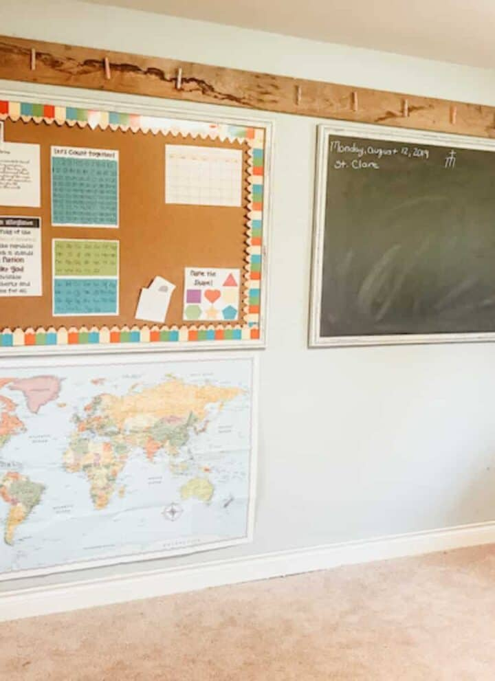 chalkboard and map wall in homeschool classroom