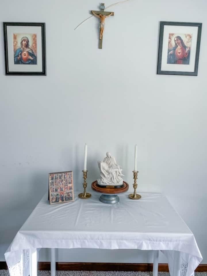 our catholic home altar set up
