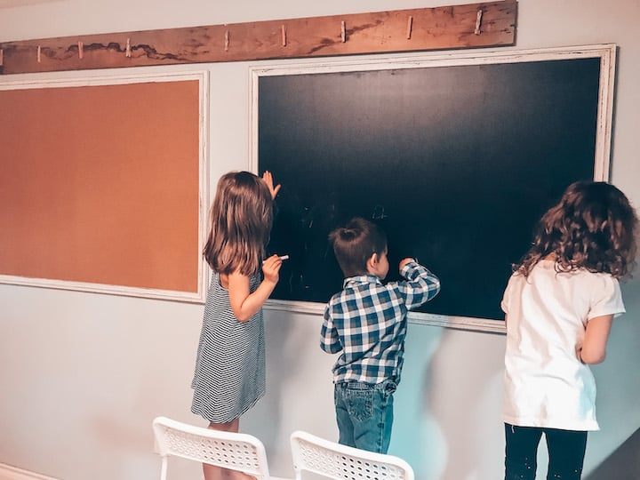 homeschool classroom with chalkboard
