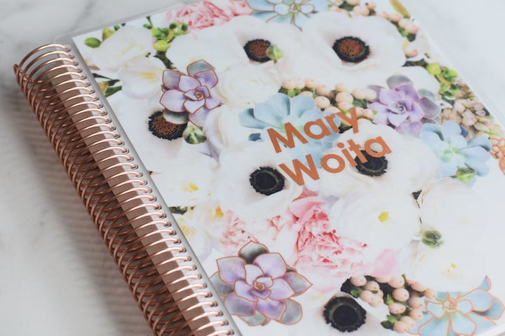 coiled teacher planner with floral cover