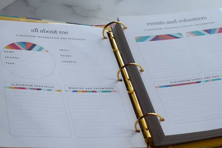 opening layout of the Erin Condren teacher planner binder