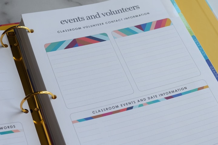 events and volunteers sheet inside of the binder planner