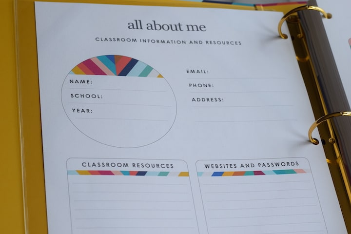 all about me sheet within the teacher planner binder