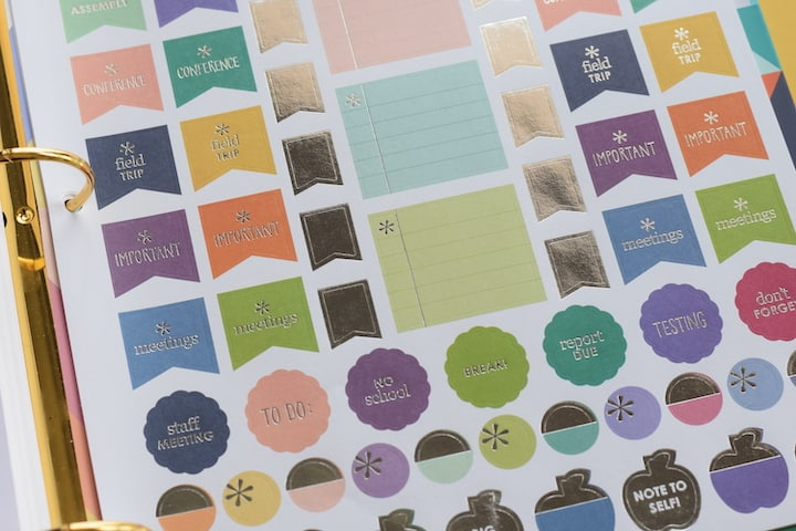 various teacher stickers for a lesson planner