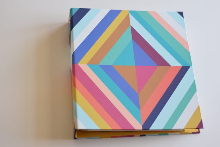 new teacher planner binder with retro bold colored stripes