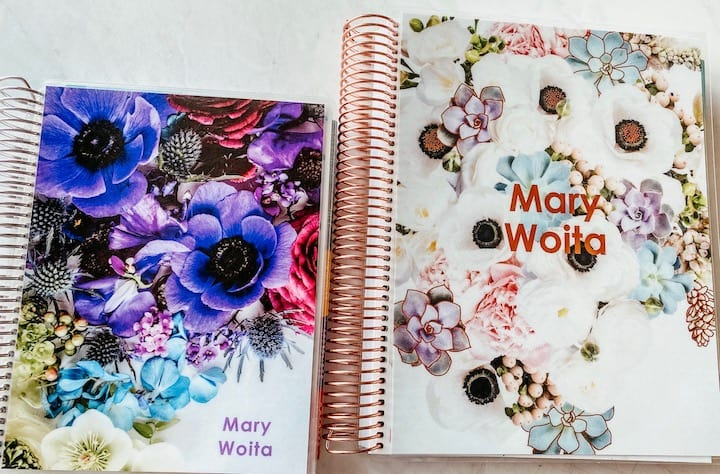 personal and teacher planners with floral covers