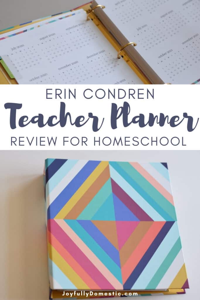 photo collage of two images of Erin Condren teacher planner