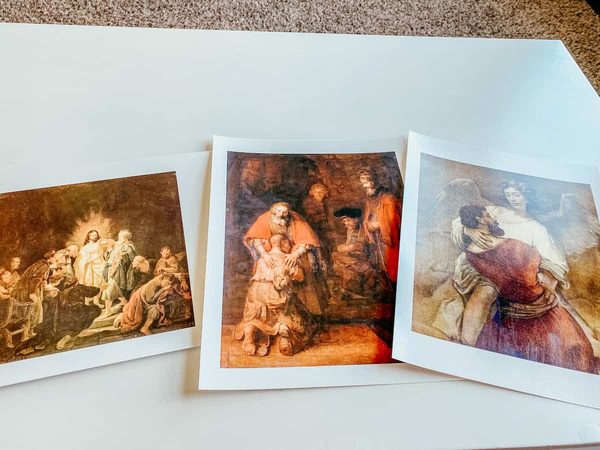 3 paintings by Rembrandt on printed cards for picture study