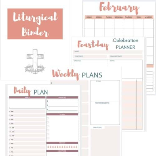 images of a few of the liturgical planner pages