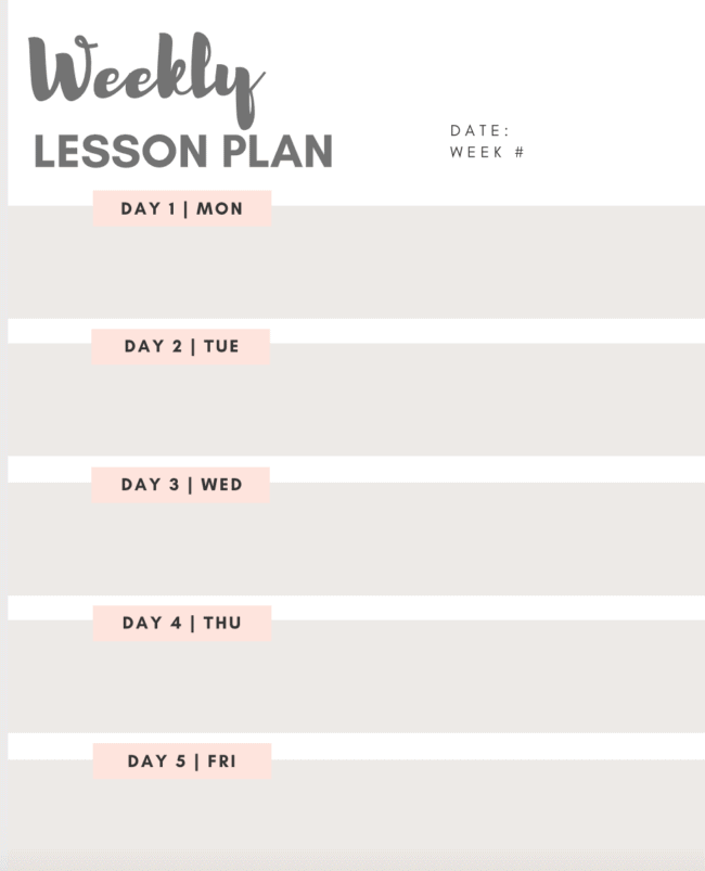 weekly lesson plan image