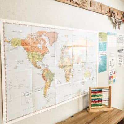 world map hanging on the wall of the homeschool room
