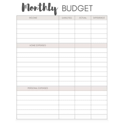 black and white image of monthly budget sheet