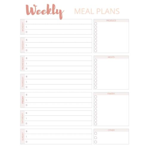 screen shot of weekly meal plan print page