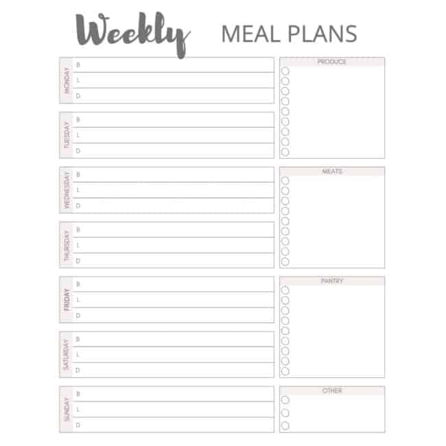 screen shot of black and white meal plan page