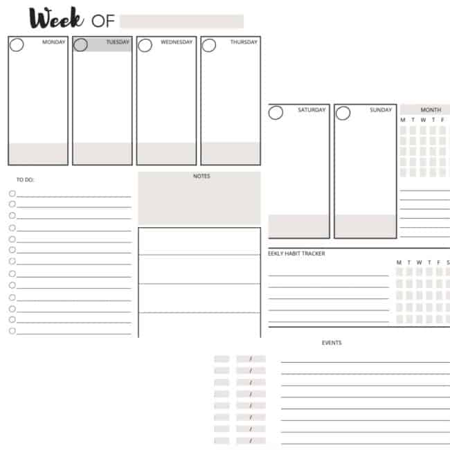 weekly planner pages screenshot