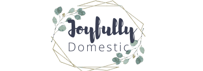 oyfully domestic logo in navy blue with gold border