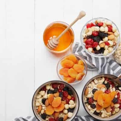 bowls of dried fruit and grains