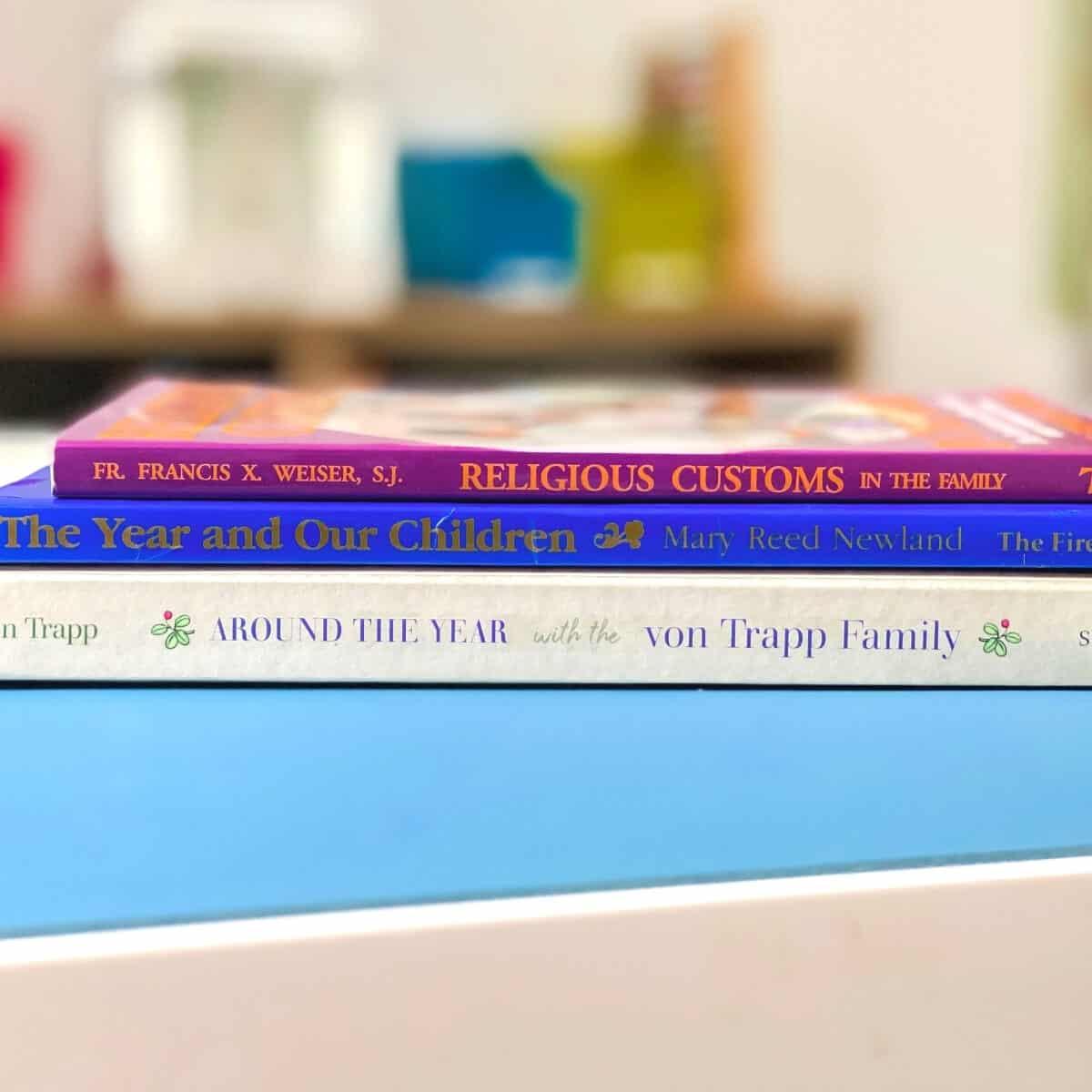 liturgical celebration book stack on a desk