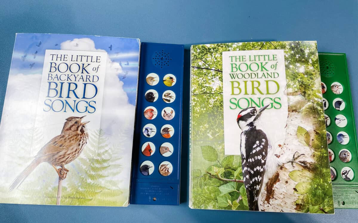 two bird song books on the desktop