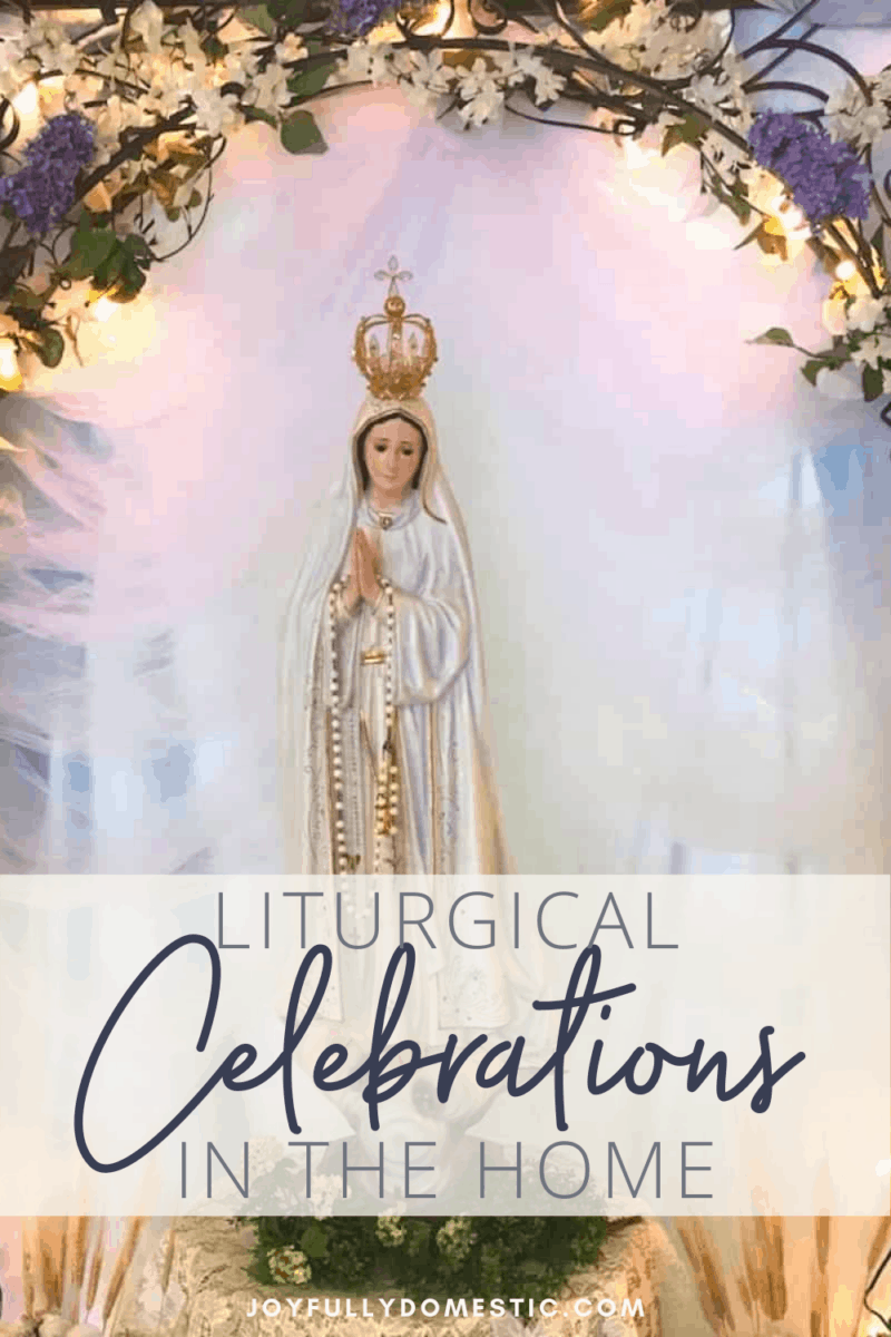 statue of our lady of fatima with floral decorated arch