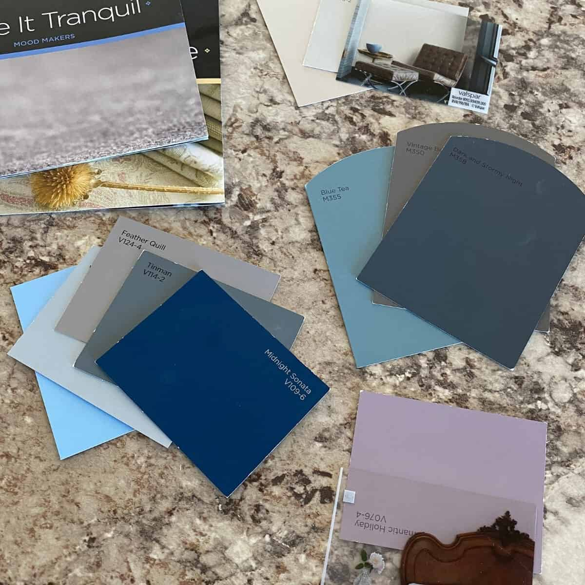 paint color samples on a countertop