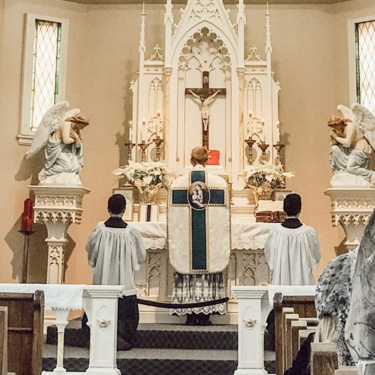 Father offering Holy Mass on a Sunday in the church